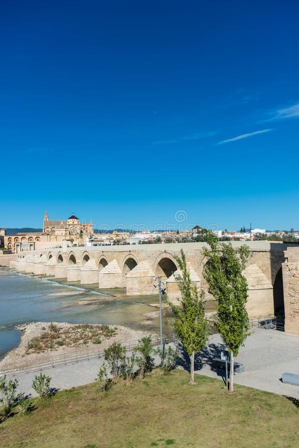 Roman bridge in Cordoba, Andalusia, southern Spain. Roman bridge, built in the early 1st century BC across the Guadalquivir river in the Historic centre of royalty free stock images
