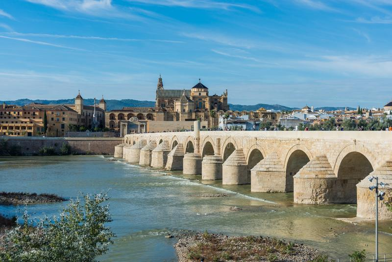Roman bridge in Cordoba, Andalusia, southern Spain. CORDOBA, ES - NOVEMBER 01, 2013: The Roman bridge, built in the early 1st century BC across the Guadalquivir royalty free stock photography