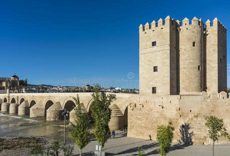 Roman bridge in Cordoba, Andalusia, southern Spain. CORDOBA, ES - OCTOBER 30, 2013: The Roman bridge, built in the early 1st century BC across the Guadalquivir royalty free stock image