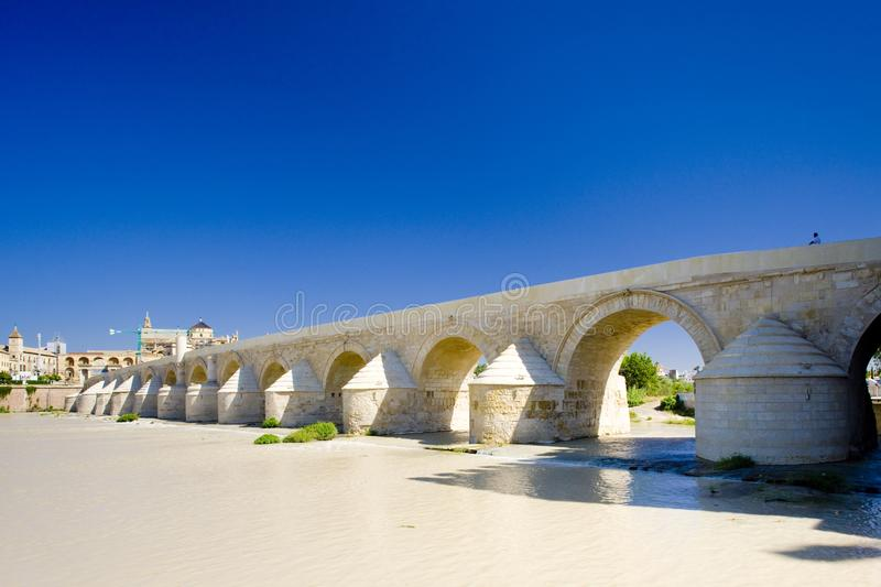 Roman bridge, Cordoba, Andalusia, Spain. Outdoor, outdoors, outside, exterior, exteriors, europe, western, andalucia, province, cordova, city, cities, urban royalty free stock photos