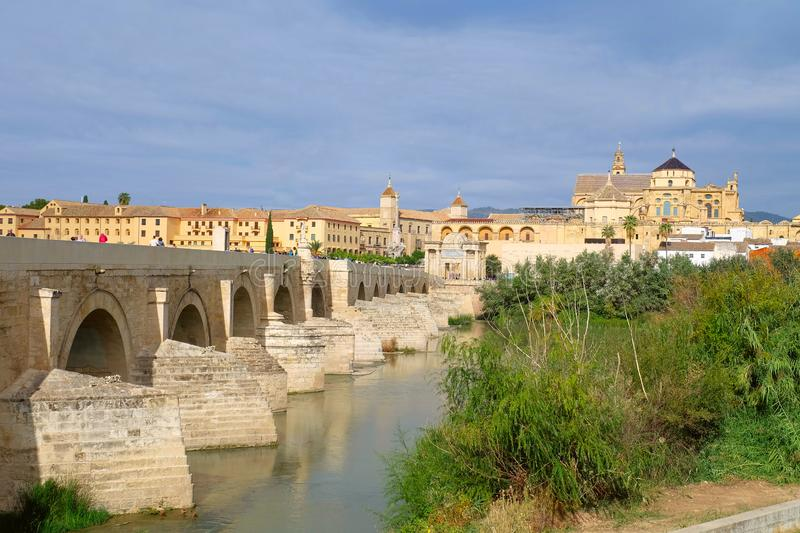 Roman bridge of Cordoba. Roman bridge crossing Guadalquivir river, Cordoba city, Andalusia region, Spain stock photo