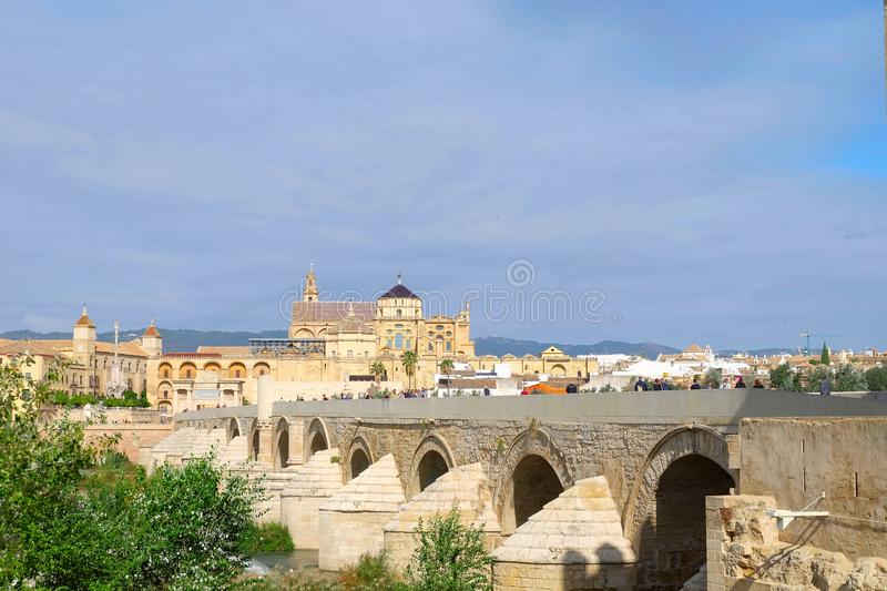 Roman bridge of Cordoba. Roman bridge crossing Guadalquivir river, Cordoba city, Andalusia region, Spain stock images