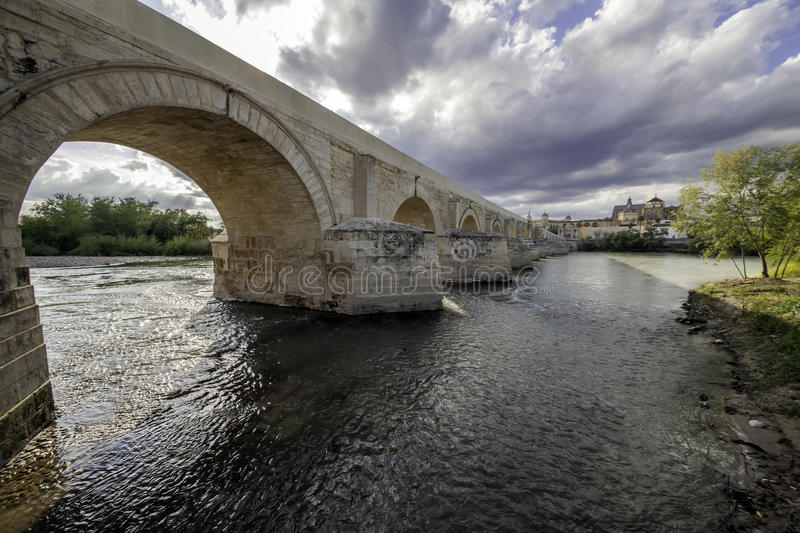 Roman bridge of Cordova. Placed on the river The Guadalquivir to his step along Cordova. Acquaintance like ` the Old Bridge ` was the only bridge with which it stock photo