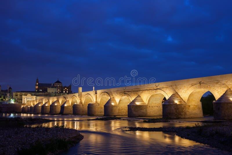 Roman Bridge on Guadalquivir River in Cordoba stock image