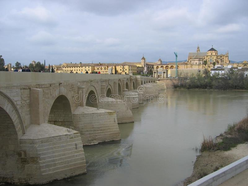 Roman Bridge and Guadalquivir river, Great Mosque, Cordoba, Spain. Ancient, landmark. Roman Bridge and Guadalquivir river. Great Mosque. Cordoba. Spain. Europe stock photo
