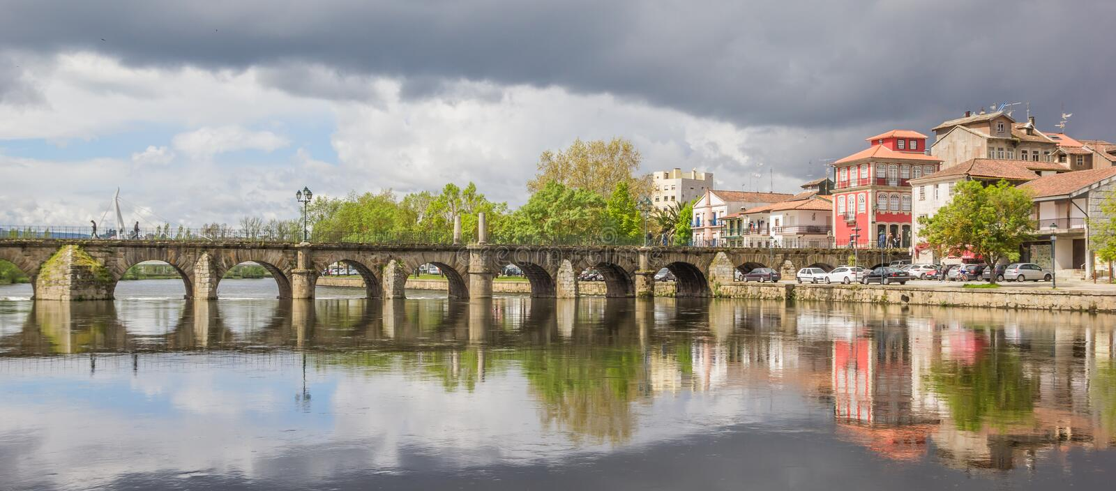 Roman bridge in historical city Chaves. Portugal stock images