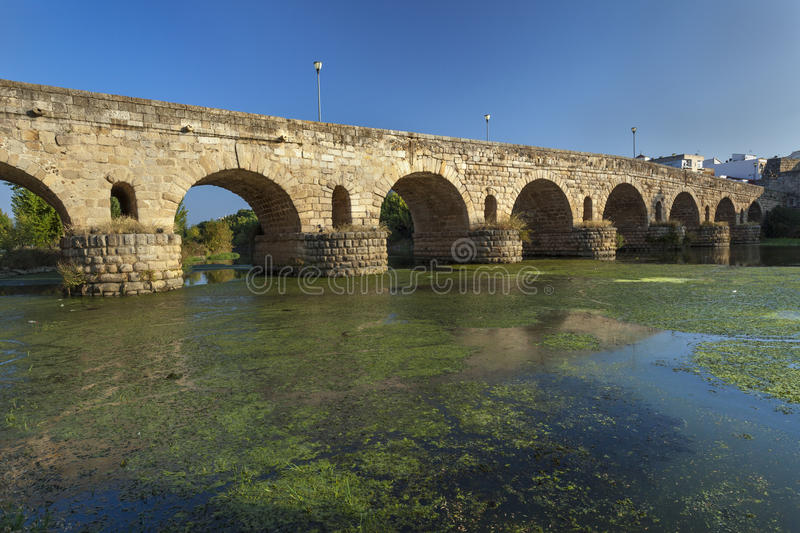 Roman bridge in Merida stock photo