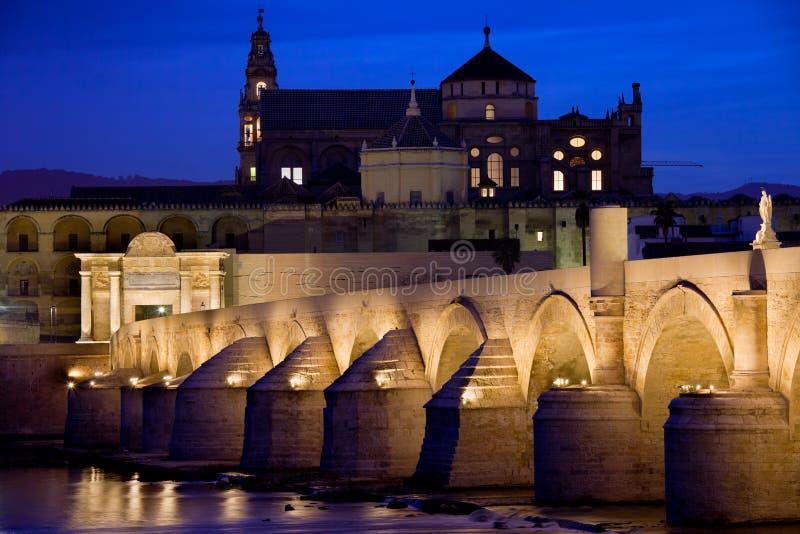 Roman Bridge and Mezquita in Cordoba at Dawn royalty free stock image