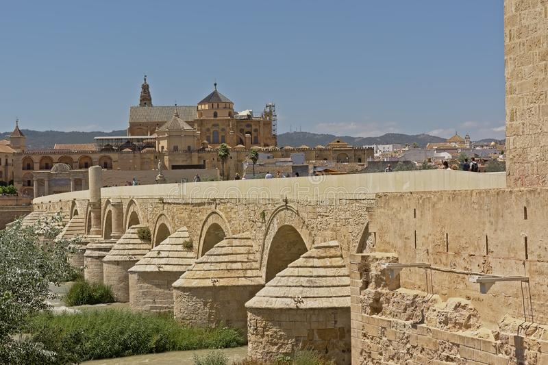 Roman bridge over Guadalquivir river and Mosque cathedral of n Cordoba. Andalusia, spain stock image