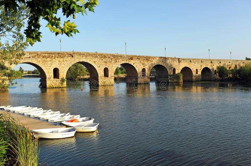 The Roman Bridge over the Guadiana River, Merida, Extremadura, Spain royalty free stock image
