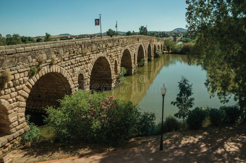 The Roman bridge over the Guadiana River at Merida stock photography