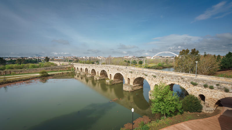 Roman bridge over Guadiana river in Merida stock image