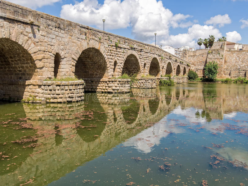 Roman Bridge over the Guadiana River, Spain stock image