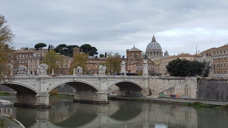 Bridge Ponte Sant'Angelo in Rome, Italy stock photos