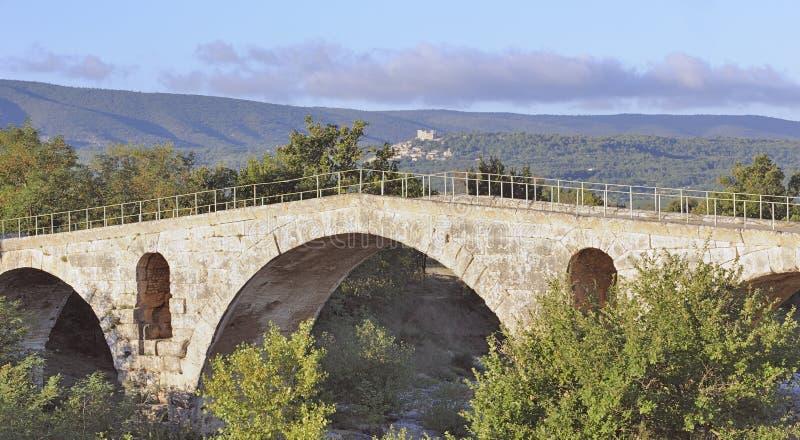 Roman bridge in Provence, France stock photos