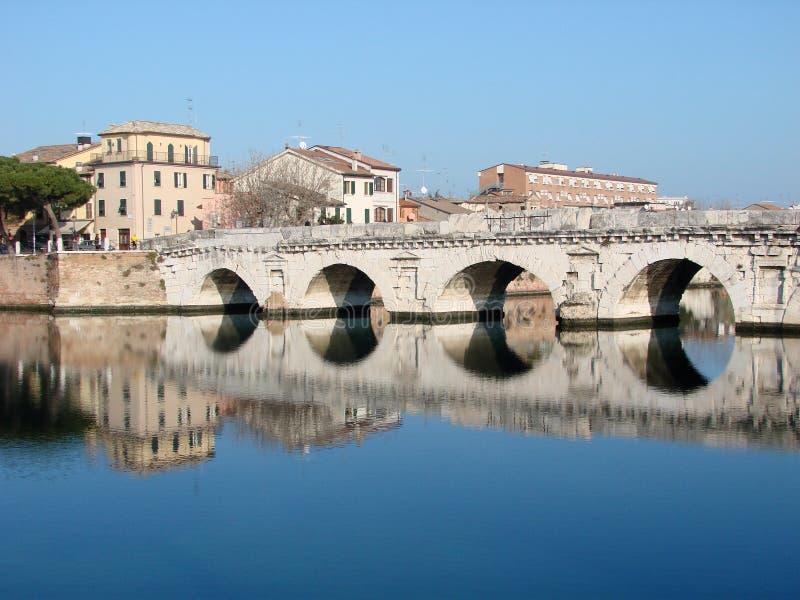 Roman bridge in Rimini royalty free stock photo