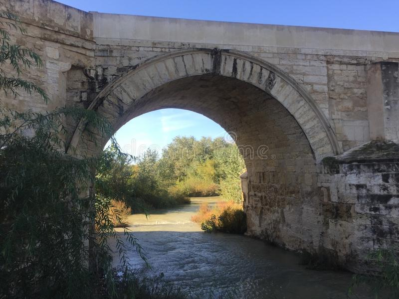 The roman bridge & tower in Cordoba III. The roman bridge crossing the Guadalquivir river in Cordoba, Espana. Surrounded by water and what is also a nature stock image