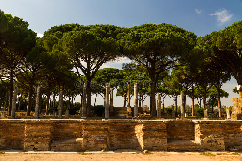 Roman buildings and pillars at Ostia Antica Italy with Stone pin. Roman pillars and ruins at Ostia Antica, roman city. Stone pine or Pinus pinea tree in royalty free stock photo