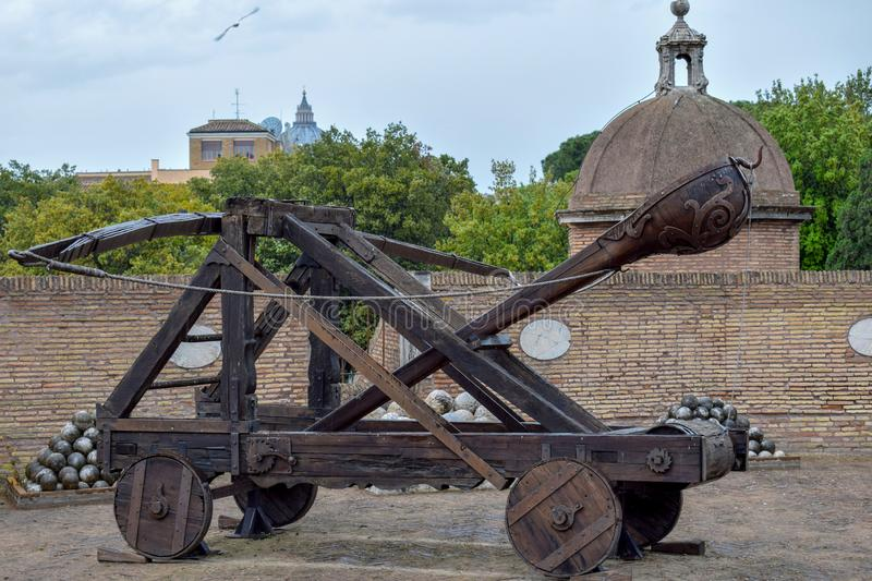 Old Roman Catapult In Castle Saint Angelo. Rome. Italy ...