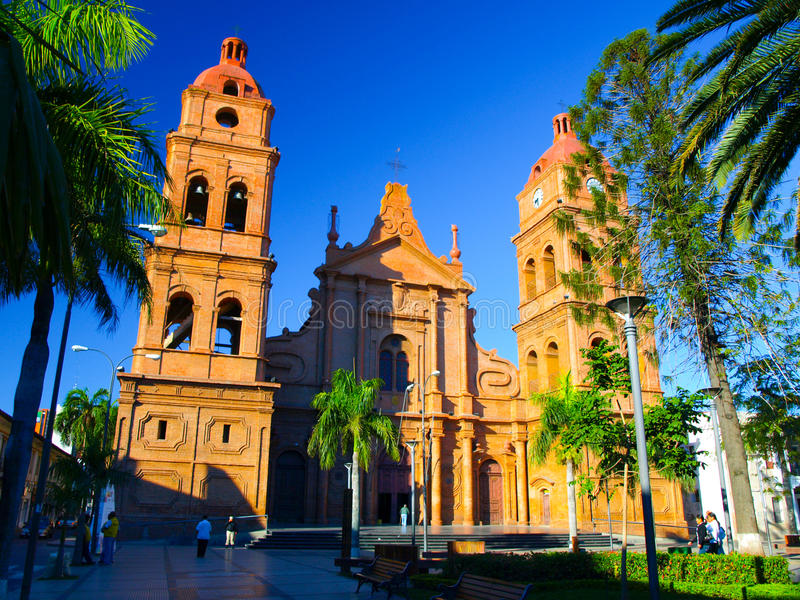 Roman Catholic Archdiocese of Santa Cruz de la. Red brick cathedral on main square, Roman Catholic Archdiocese of Santa Cruz de la Sierra, Bolivia royalty free stock image