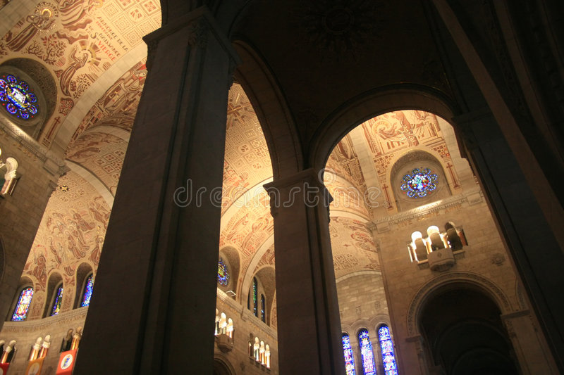 Roman Catholic Cathedral. This Catholic church has arches that reach to the heavens stock image