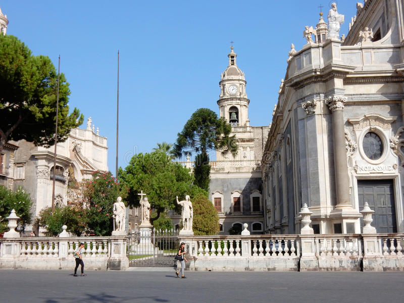 Roman Catholic Cathedral of Saint Agatha – Catania - Sicily - Italy. Cathedral of Saint Agatha - Roman Catholic church with Baroque architecture - side royalty free stock images