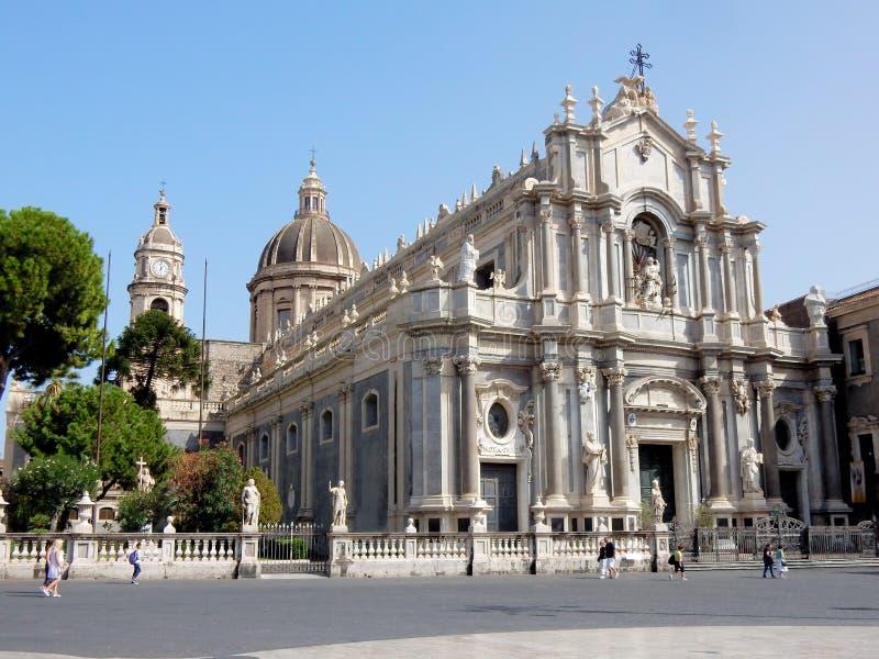Roman Catholic Cathedral of Saint Agatha – Catania - Sicily - Italy. Metropolitan Cathedral of Saint Agatha – Roman Catholic church with Baroque stock image