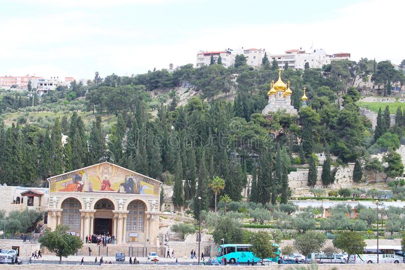 Roman Catholic Church de todas as nações, da igreja ou da basílica da agonia, Jerusalém fotos de stock