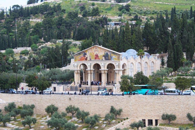 Roman Catholic Church de todas as nações, da igreja ou da basílica da agonia, Jerusalém imagens de stock royalty free