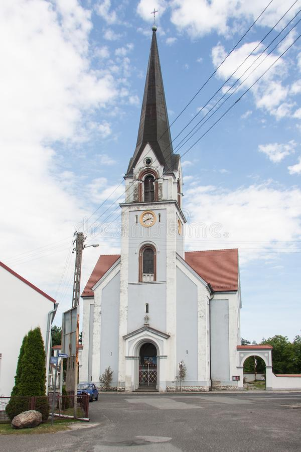 Roman Catholic Church dedicated to the Visitation of the Blessed Virgin Mary in the village of Łącznik in Poland. Opolskie Voivodeship. Built in the stock image