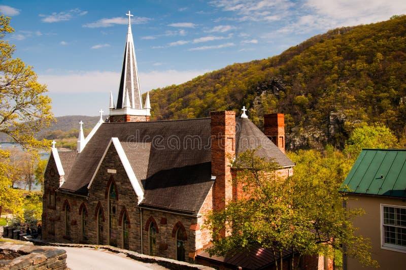 Roman Catholic Church di St Peter, il traghetto di Harper, Virginia Occidentale fotografia stock