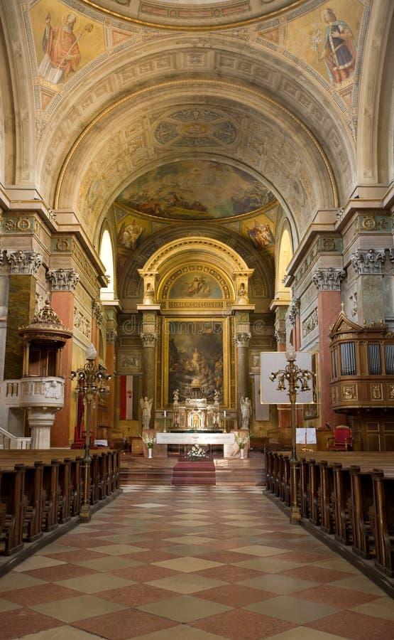 Roman Catholic church interior. stock image