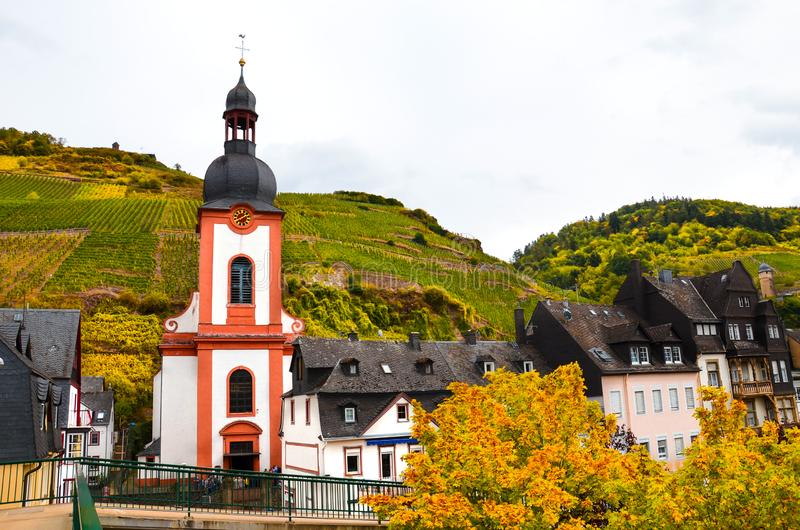 Roman Catholic Church in Zell, Germany. Small city in famous Mosel wine region photographed in the autumn season. Fall vineyards stock photos