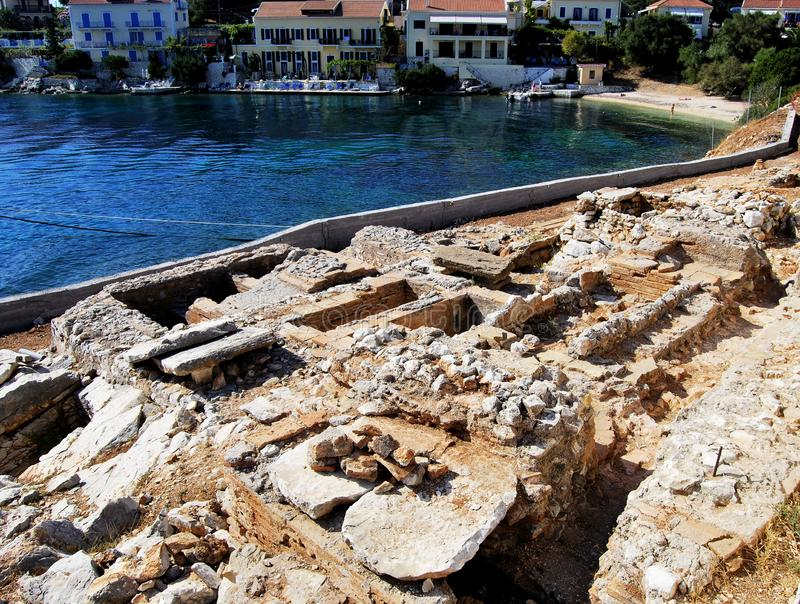 Ancient roman grave ruins in picturesque and iconic port of Fiskardo stock photo