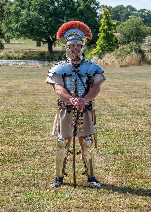 Roman Centurion, exposition vivante de l'histoire M5, Worcestershire, Angleterre image stock