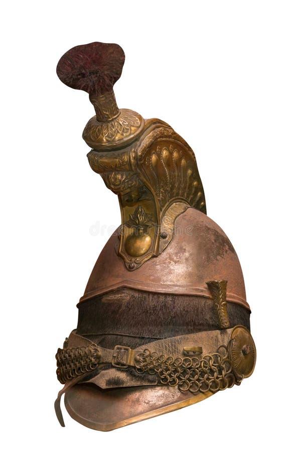 Roman centurion helm op witte achtergrond wordt geïsoleerd die uitstekende roman centurion helm royalty-vrije stock afbeeldingen
