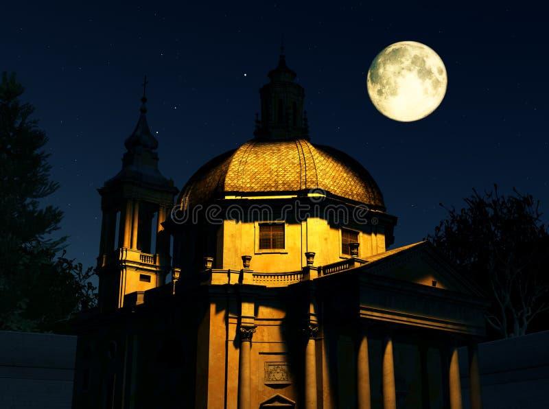 Download Roman Church at Night stock illustration. Image of moonlight - 19992043