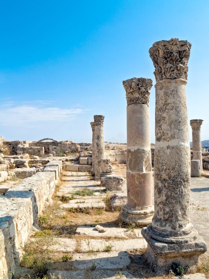 Roman citadel in Amman, Jordan. Temple details. Corinthian order. Al-Qasr site, Jordan stock photo