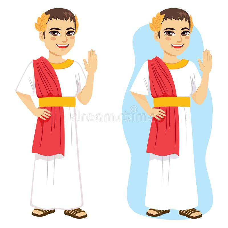 Roman Citizen Man Saluting. Standing isolated and with blue background stock illustration