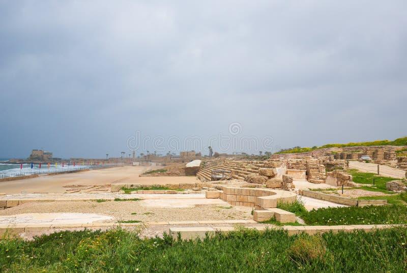 Roman City antiguo de Caesarea en Israel imagen de archivo libre de regalías