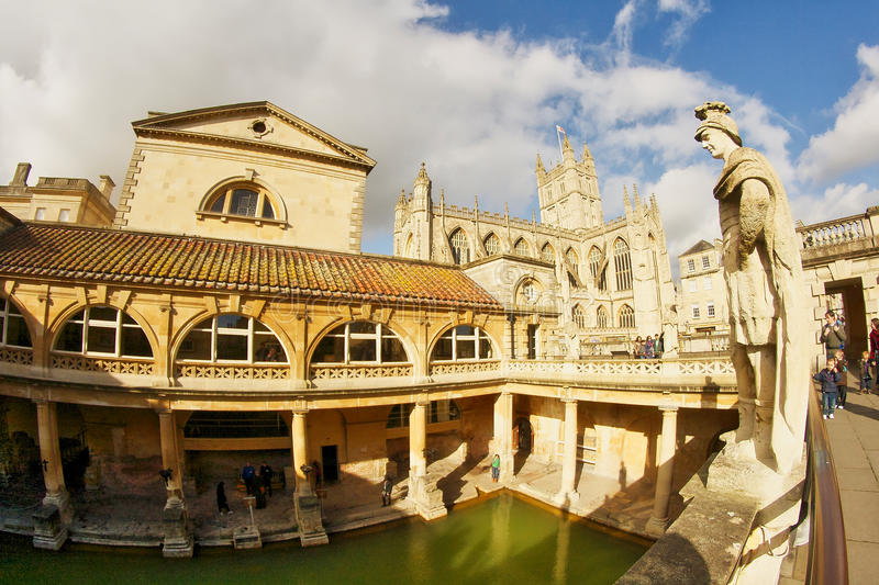 Roman city of Bath in The United Kingdom. Medieval cathedral in the background stock images