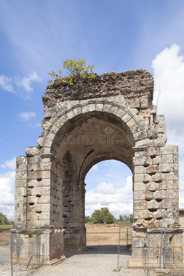 Tourism in Extremadura, Spain. The Roman city of Cáparra is located in the ancient Roman province of Lusitania, in the locale of the Alagón in the north of royalty free stock images