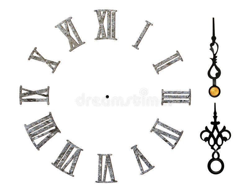 Roman clock face. Stone-textured roman clock face isolated on white vector illustration