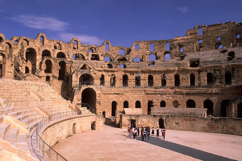 Roman Coliseum- El Djem, Tunisia. El Djem (Latin Thysdrus) is a town in Mahdia Governorate, Tunisia, population 18, 302 (2004 census). It is home to some of the royalty free stock photos