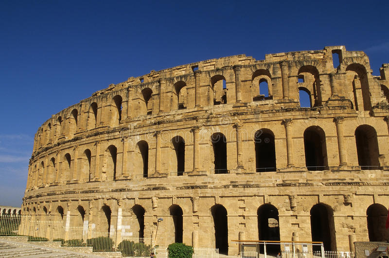 Roman Coliseum- El Djem, Tunisia. El Djem (Latin Thysdrus) is a town in Mahdia Governorate, Tunisia, population 18,302 (2004 census). It is home to some of the stock photography