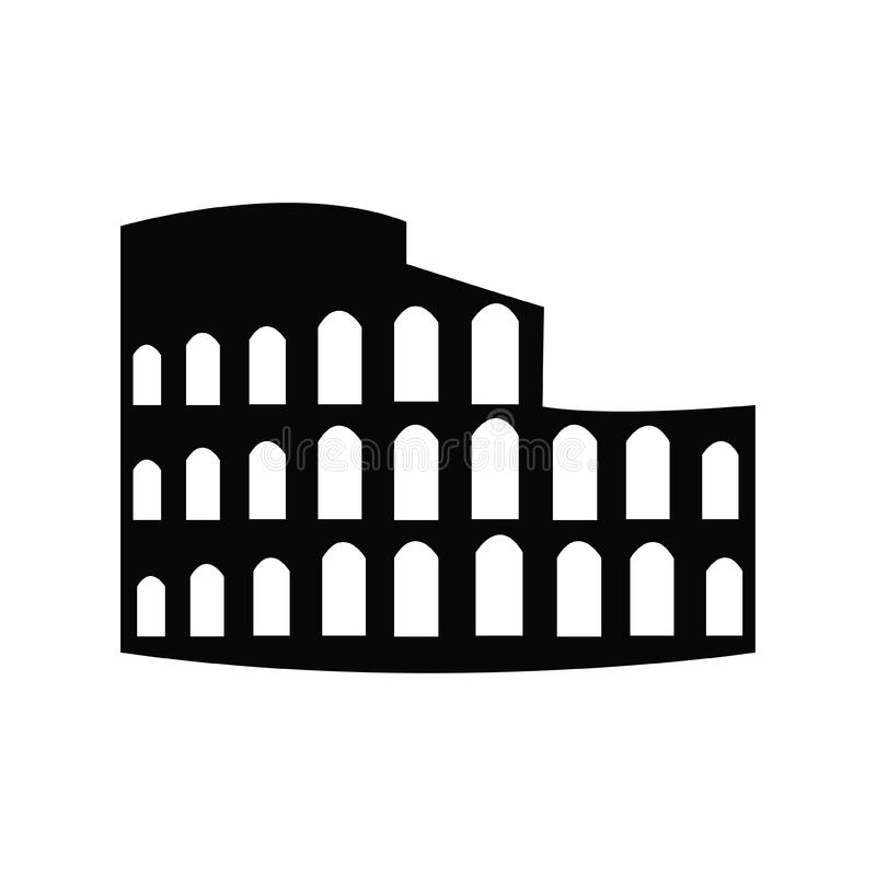 Roman Coliseum Ruins Landmark Silhouette stock illustrationer