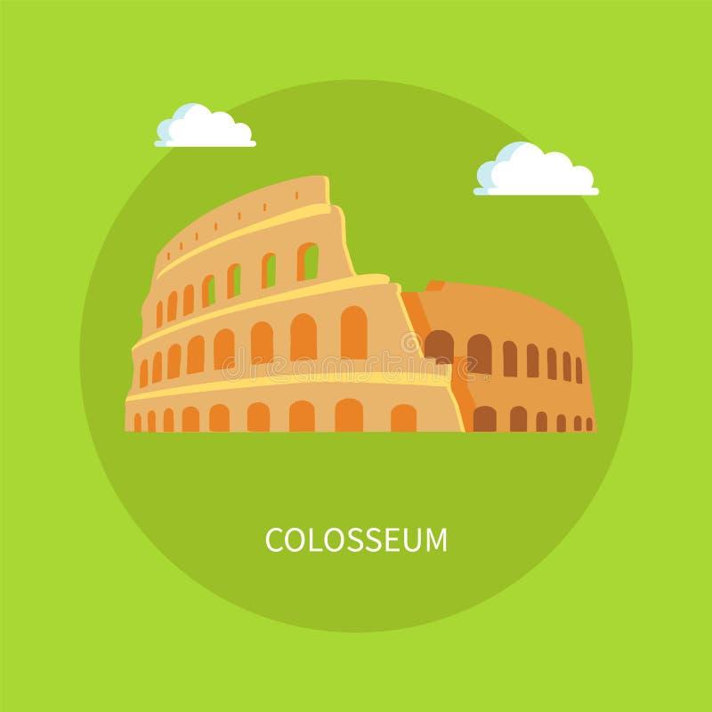Roman Coliseum Ruins no estilo antigo da arquitetura ilustração stock