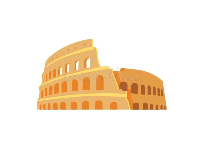 Roman Coliseum Ruins no estilo antigo da arquitetura ilustração do vetor