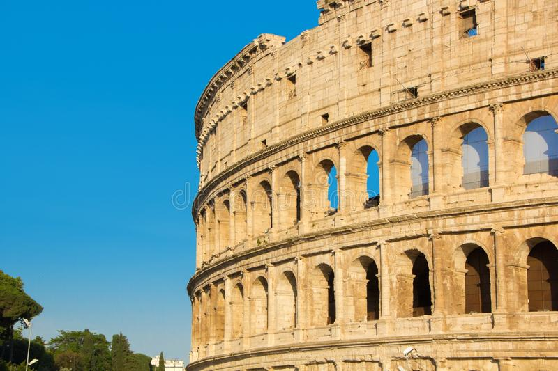 Roman Coliseum, summer view without people. Colosseum or Coliseum near the Forum Romanum in Rome. Italy stock photography