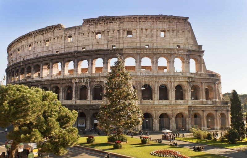 Roman Coliseum viert Kerstmis royalty-vrije stock afbeelding